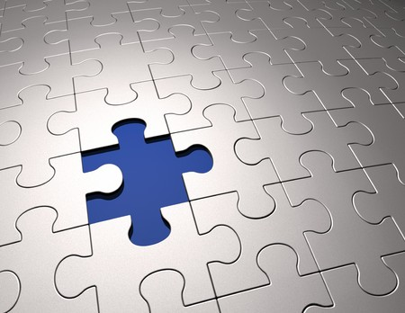 missing: Conceptual 3D art showing one missing jigsaw piece from the puzzle. Stock Photo