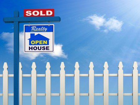 A realestate sign showing the house as sold on a Blue Sky and white picket fence background Stock Photo