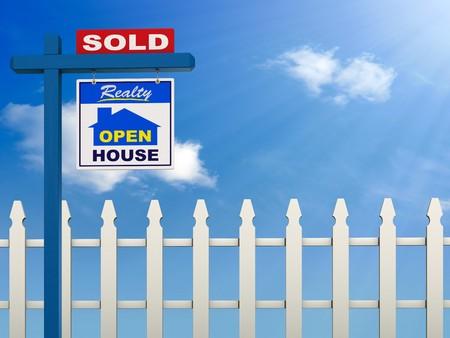 listing: Un signo de inmobiliarias que muestra la casa tal como vendido sobre un cielo azul y fondo blanco piquete de valla