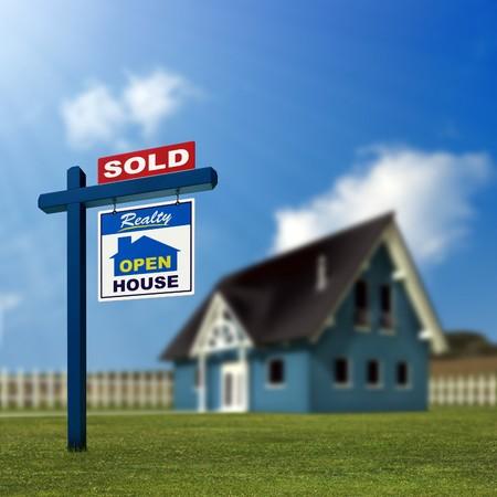 listing: Un signo de inmobiliarias que muestra la casa tal como vendido.