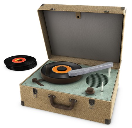 turntable: A Vintage Record Player Isolated on white.