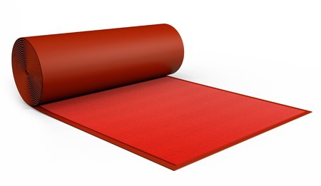 carpet: A red Carpet being rolled out on white. Stock Photo