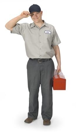 Reparateur geïsoleerd op een witte achtergrond met clipping path Stockfoto