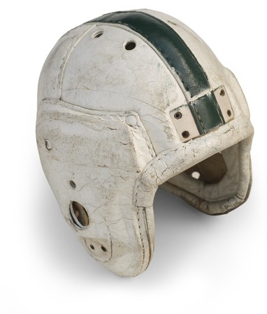 Antique leather football helmet from the 30s and 40s isolated on a white background  Stok Fotoğraf