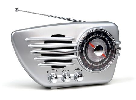 radio retr�: silver retro radio