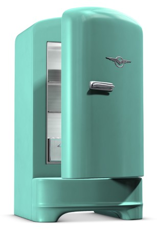 A retro turquoise colored refrigerator on white Stock Photo - 7060259