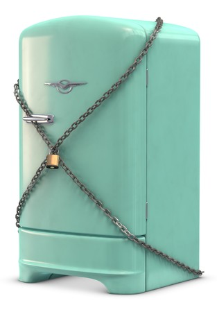 locked: A retro turquoise colored refrigerator on white.
