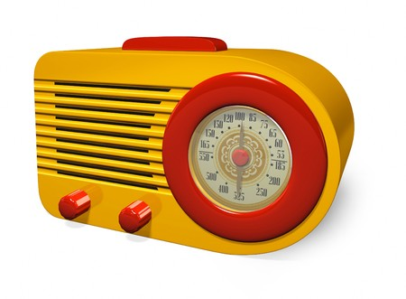1930s Vintage Yellow and Red Retro Radio