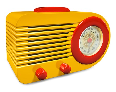 Yellow and Red plastic vintage radio on white background Stock Photo
