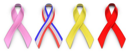 Four advocacy ribbons on a white background  representing breast cancer research, support for the military, AIDS research and homecoming for troops