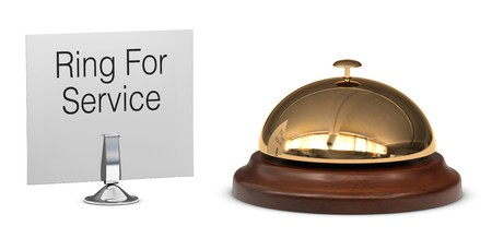 service desk: brass service desk bell with and service sign, isolated on white