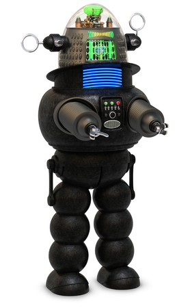 science fiction: 50s style robot on a white background