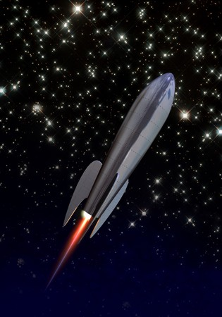 soar: cohete de estilo de los a�os 1940 elevarse a trav�s del espacio