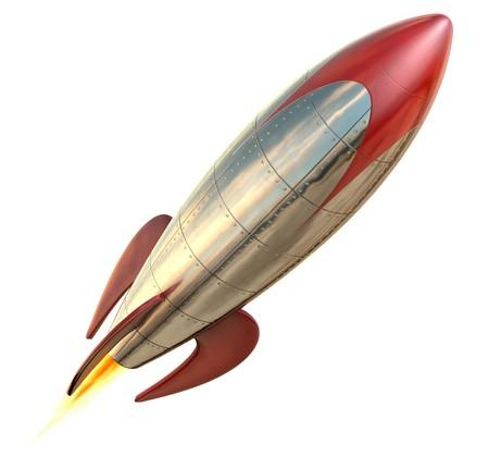 Un divertido estilizada de cohete en el piso aislado en un fondo blanco  Foto de archivo