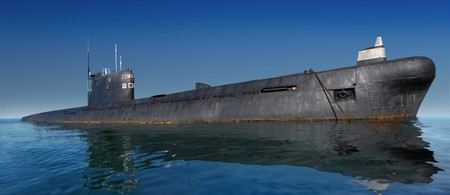 stealth: Russian submarine surfaced. Shot at water level against clear blue sky