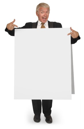 soliciting: Corporate looking senior executive wearing a blank sandwich board