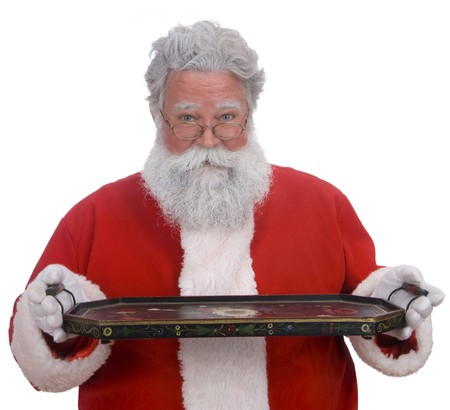 Santa on a white background holding an empty tray where any product can be placed Stock Photo - 9519794