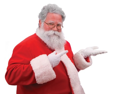st  nick: Santa pointing as if displaying a product on on the palm of his hand against a white background