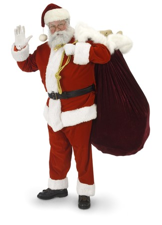 santa: Full Santa standing, waving at the camera on a white background Stock Photo