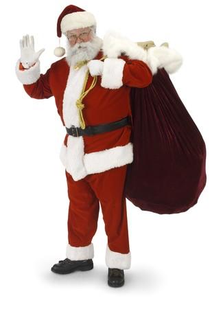 Volledige Santa permanent, zwaaien naar de camera op een witte achtergrond Stockfoto