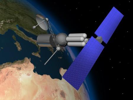 satelite: Satelite orbiting earth