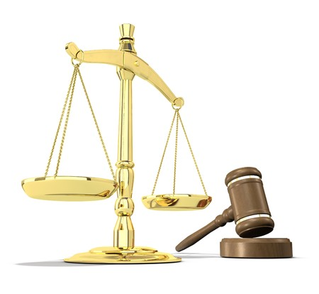 scales of justice: Scales of justice and gavel on white background that allows for copyspace. Stock Photo