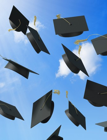 backgrounds: A skyfull of mortar boards.