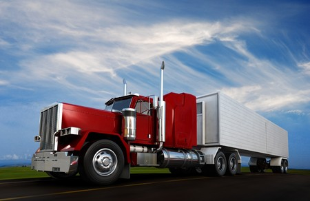 18: An 18 wheeler Semi-Truck sppeding on highway Stock Photo
