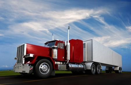 transporte de mercancia: Un sppeding de Semi-Truck de 18 ruedas en carretera