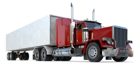 An 18 wheeler Semi-Truck on white. Stock Photo - 7058652