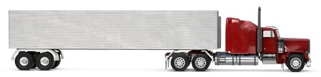 18: An 18 wheeler Semi-Truck on white. Stock Photo