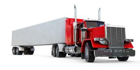 lorry: Un 18 wheeler Semi-Truck su fondo bianco. Archivio Fotografico