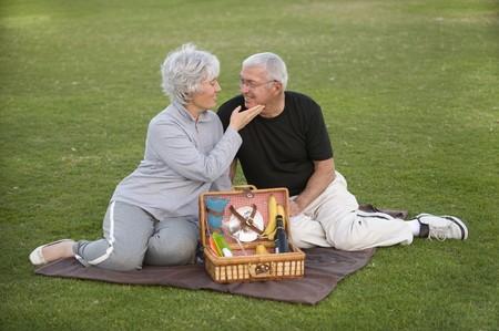 Senior couple enjoying a romantic picnic photo