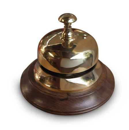 campanas: campana de escritorio de servicio de lat�n con base de madera  Foto de archivo