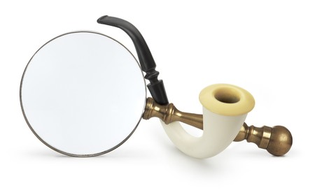 Vintage Magnifying glass with Sherlock Holmes Pipe Banco de Imagens - 7049172