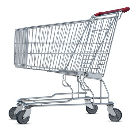 push cart: A shopping cart isolated on white Stock Photo