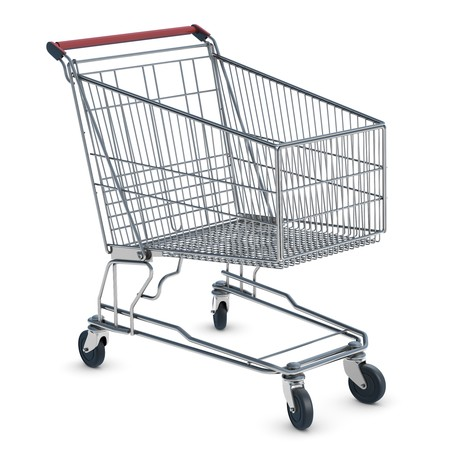 shopping cart: A shopping cart isolated on white inclluding clipping path.