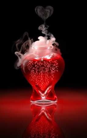 infatuation: Open heart-shaped bottle of red, bubbling, smoking, love potion on a black background