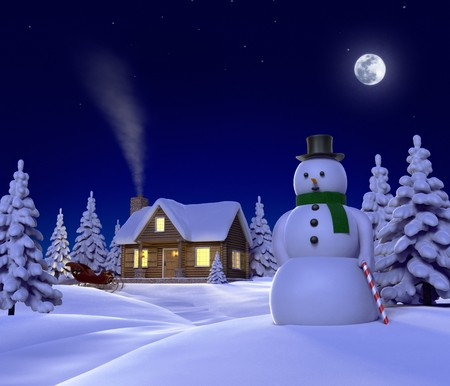 A christmas themed snow cene showing Snowman, Cabin and snow sleigh at night