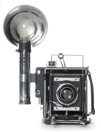 Retro Speedgraphic camera shot from the front on a white background