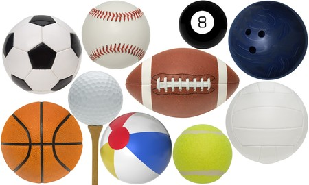 Sport balls isolated with clippint paths on white background photo