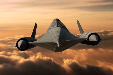 speed of sound: SR-71 supersonic Black Bird flying above cloud level