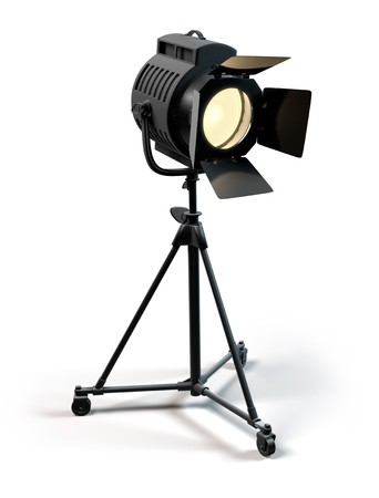A vintage theater spotlight on a white background photo