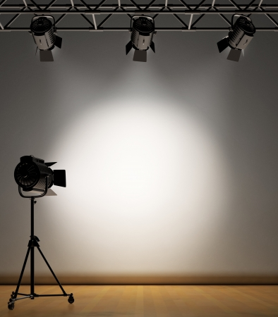 stage set: A vintage theater spotlight on a white background Stock Photo