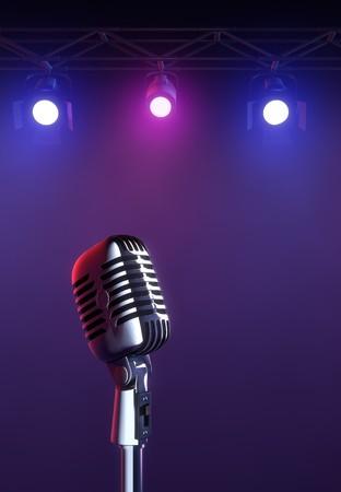 50s mic op stadium lichte achtergrond.