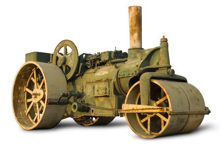 steam roller: Vintage steam roller isolated on white
