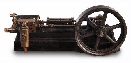 flywheel: Steam engine piston and flywheel