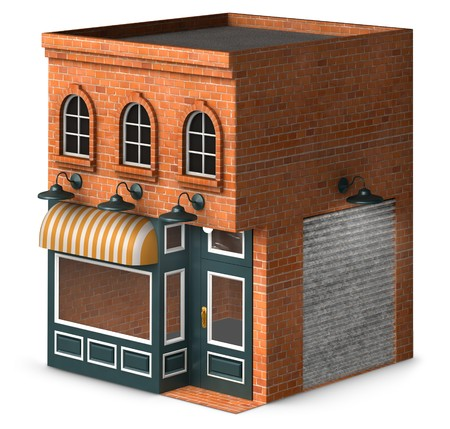 Iconic rendering of a classic retail store front isolated on a white background