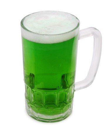 saint patty's: An Irish themed brew in a chilled glass mug isolated over white.