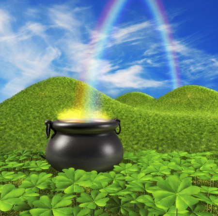 end of rainbow: A pot at the end of the rainbow shown surounded by a lucky clover garden and roling hills of grass in the background.